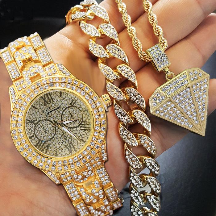 Iced Out Gold Watch, Diamond Pendant Necklace and Bracelet Set - OGClout