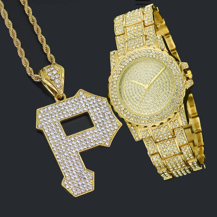 Bling Bling Iced Out  Watch And Letter Pendant  Gift Set