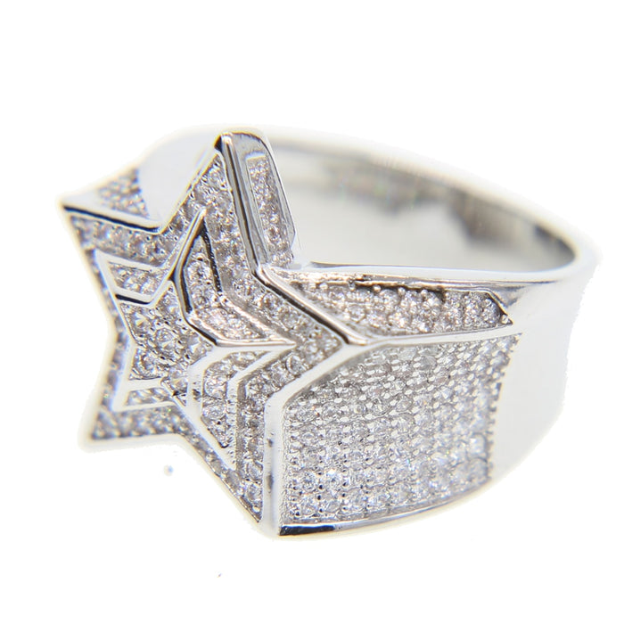 top quality cool hip hop  bling star shape cz ring - OGClout