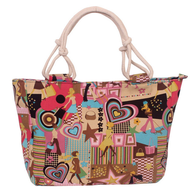 Women Big Size Handbag Tote Ladies Casual Flower Print Canvas Shoulder Bag Beach - OGClout