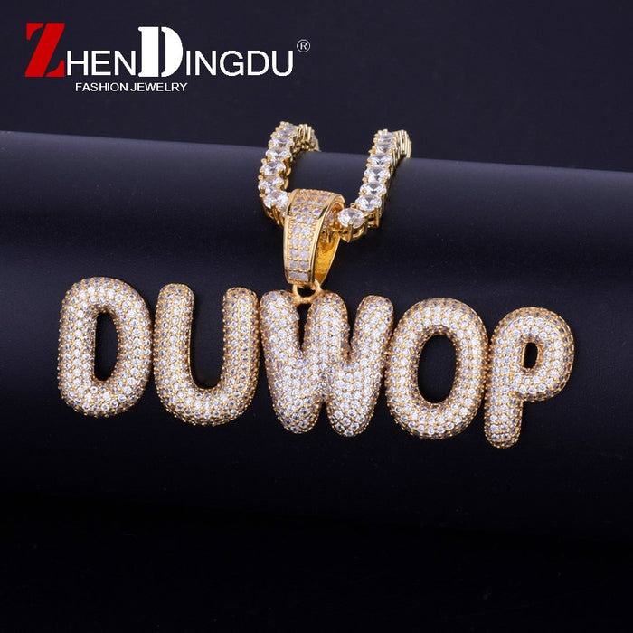 Bubble Letter Zircon Hip Hop Jewelry - OGClout