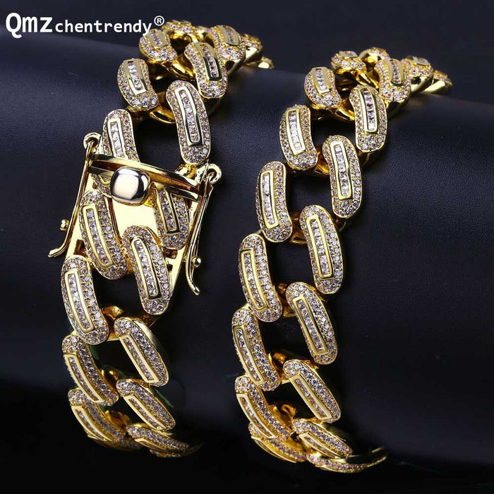 Hip hop Copper Curb Cuban  Iced Out Full CZ Gold Siilver With Luxury Solid Clasp - OGClout