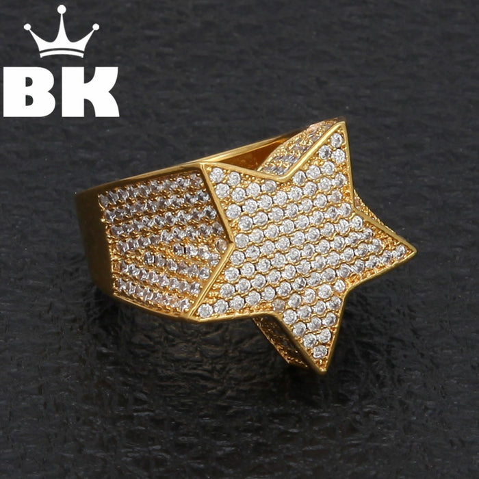 Men's Big Bold Star Shape AAA CZ Ring - OGClout