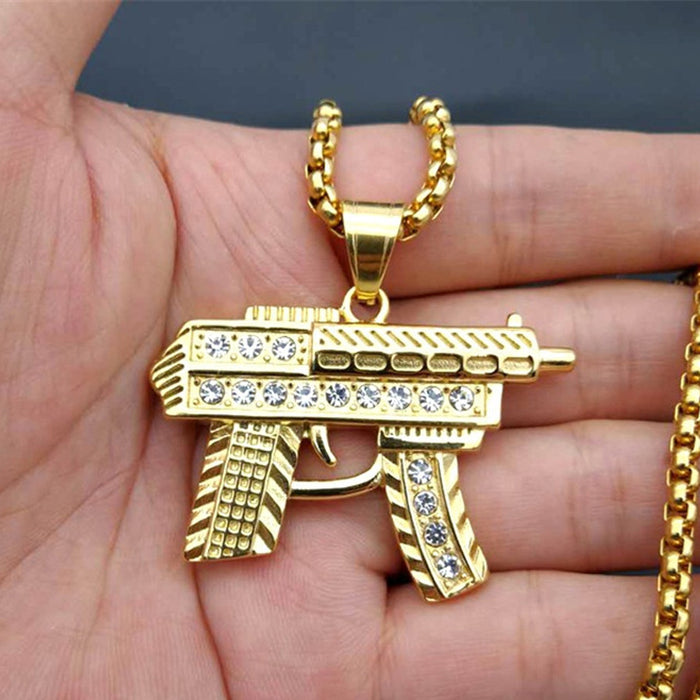 Gold Iced Out Submachine Necklace Stainless Steel Jewelry - OGClout