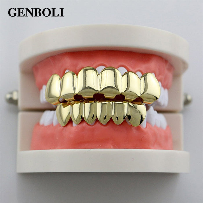 Hip Hop Silver Gold Teeth Top Bottom Set with Silicone Dental Caps - OGClout