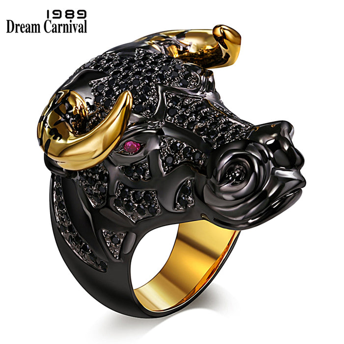 Chunky Black Bull with Golden Color Horns Punk Hip Hop CZ Big Ring for Unisex - OGClout