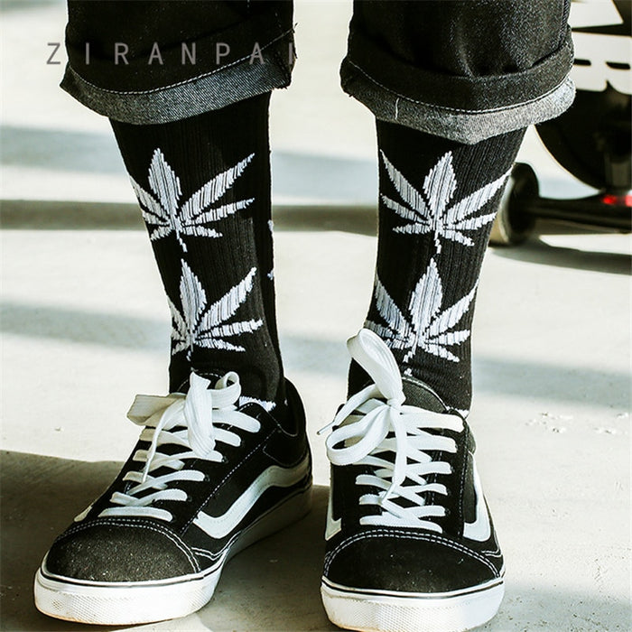 Men's High Quality  Weed  Cotton Hip Hop Socks  for Men's