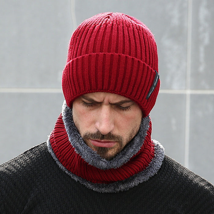 Winter Beanies Men Scarf Knitted Fleece Lined Thick Skullies Beanies - OGClout