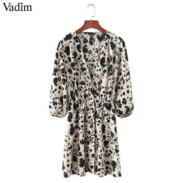 V Neck Snake Pattern Dress Elastic Waist Three Quarter Sleeve Pleated Buttons - OGClout