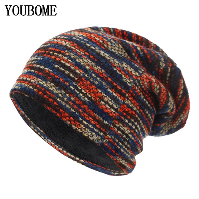 Knitted Winter Unisex Striped Beanie - OGClout