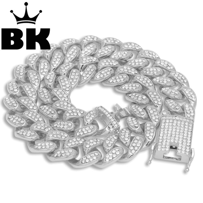 Iced Out Crystal Miami Cuban Chain  18inch to 24inch Necklace- HOT SELLING THE HIP HOP KING