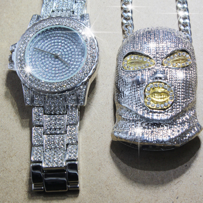 Iced Out Simulated CZ Zircon Watch and GoonSki Mask Pendant Necklace set - OGClout
