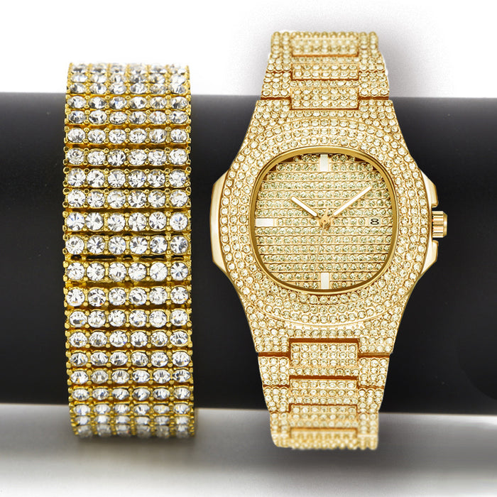 Hip Hop Iced Out Bling  Luxury Gold Silver Watch & Zircon Bracelet Gift Set - OGClout