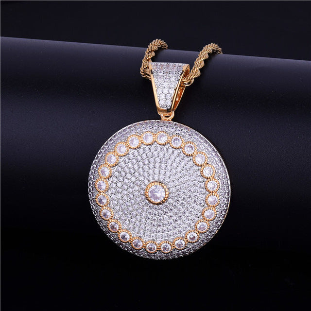 Round Solitaire Circle Medallion Iced Bling Bling  Pendant Necklace    -Men's Jewelry Gift - OGClout