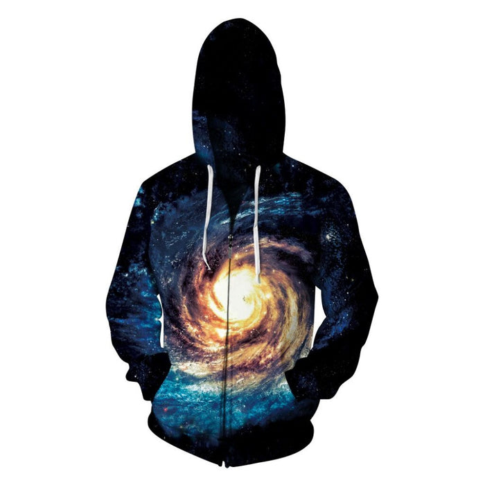 New Fleece  3D Print Shining Starry Sky  Unisex Zipper Jackets - OGClout