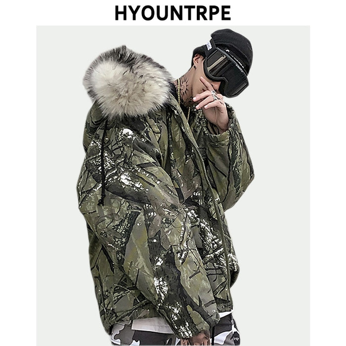 Camouflage  Faux Fur Collar Jacket