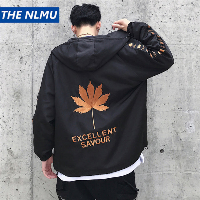 Personality Leaf Embroidery Jackets Men