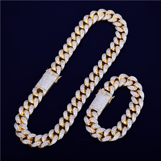 Heavy Cubic Zirconia Miami Cuban Chain with Bracelet Necklace Set Gold