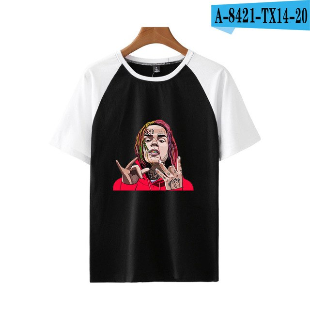 BTS 6ix9ine Fashion Rapper Printed Summer Raglan T-shirts Women/Men Summer Short Sleeve Casual Tshirts 2018 Hot Sale Trendy Wear