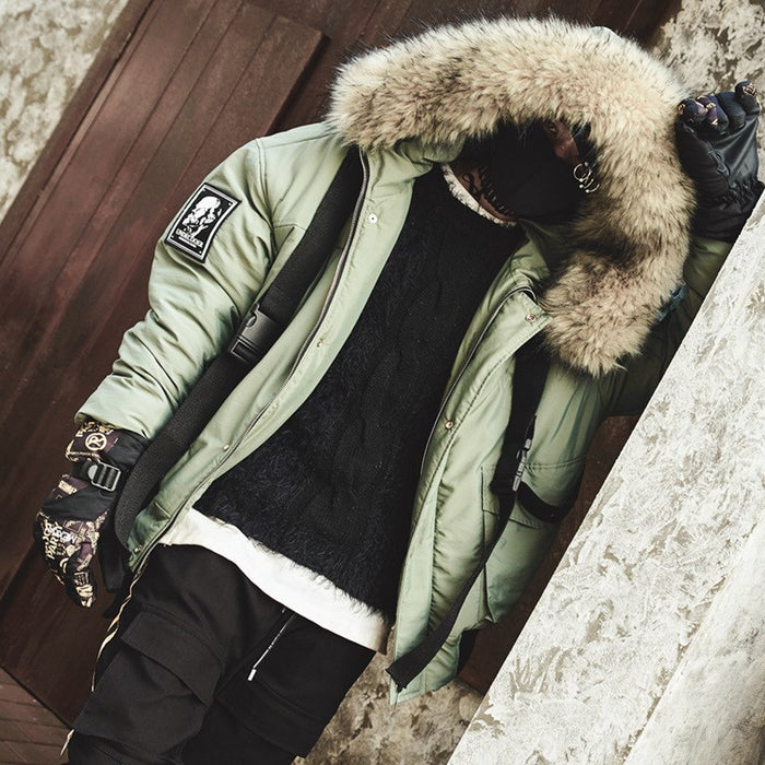 Men's Winter Warm /Thick Fur Collar Ribbon Hooded Parkas Jacket
