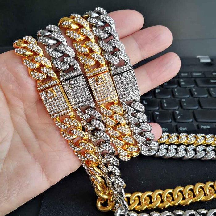 ICED OUT Jewelry Sets AAA+ Rhinestone Necklace Bracelet MIAMI CUBAN CHAIN Bling Bling Iced Out Magnetic Clasp Men