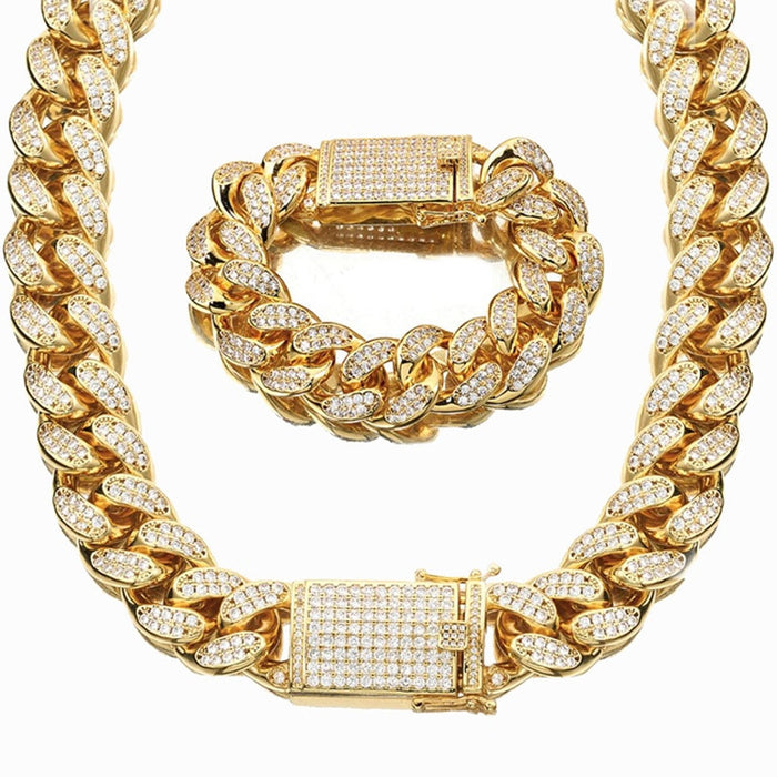 18MM Men Cuban Miami Link Chain Necklace Bracelet Stainless steel Dragon Clasp Lock Hip hop Heavy Men CZ Chain Jewelry Sets