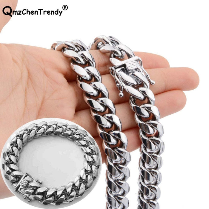 14MM   Stainless steel Dragon Clasp Lock - Men Cuban Miami Link