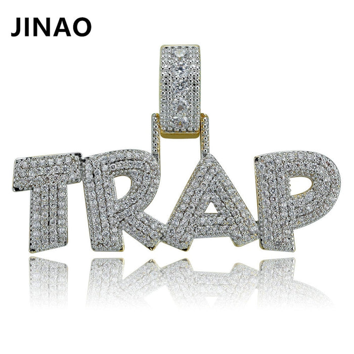 TRAP  Iced Out Chain. Solid Pendant Necklace .