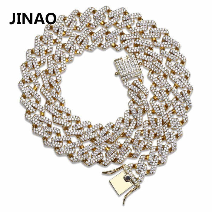 JINAO Hip Hop Cuban Chain Iced Out Chain  Necklace