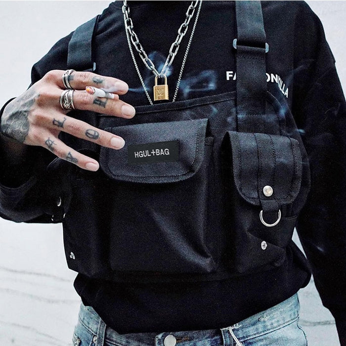Hip Hop Streetwear & Functional  Chest Bag Cross W