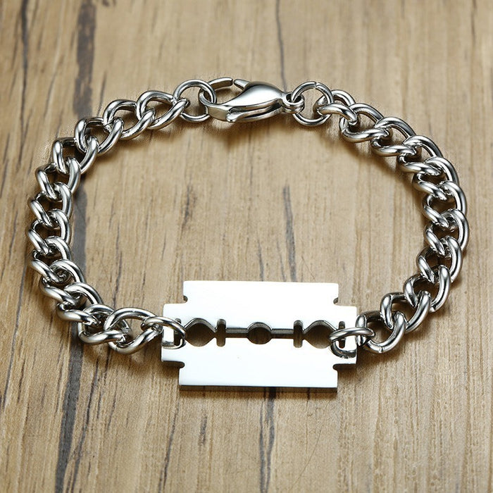 Punk Silver Razor Blade Bracelet For Men
