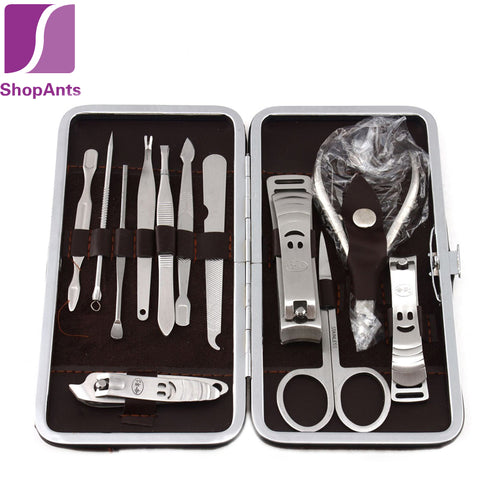 12 PCS/set Nail Art Manicure Tools Set Nails Clipper Scissors Tweezer Knife Manicure Sets Stone Pattern Case For Nail Manicure - BigSaver.com