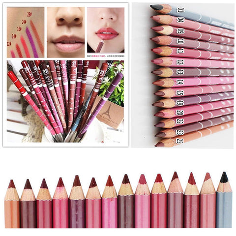 12Pcs/set Brand New Women's Professional Lipliner Waterproof Lip Liner Pencil 15CM 12 Colors Hot Sale - BigSaver.com