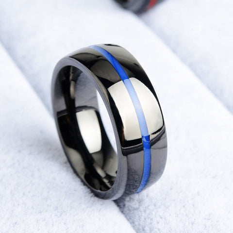 Keisha Lena Mens firefighter Ring Stainless Steel Thin blue line Ring Top Quality  red line rings drop shipping - BigSaver.com