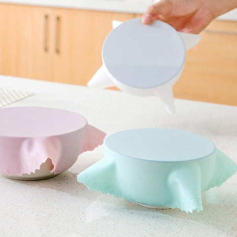 23CM Lid Silicone Plastic Wrap Cover Dish Microwave Oven Refrigerator Fresh Bowl Seal Covering food storage