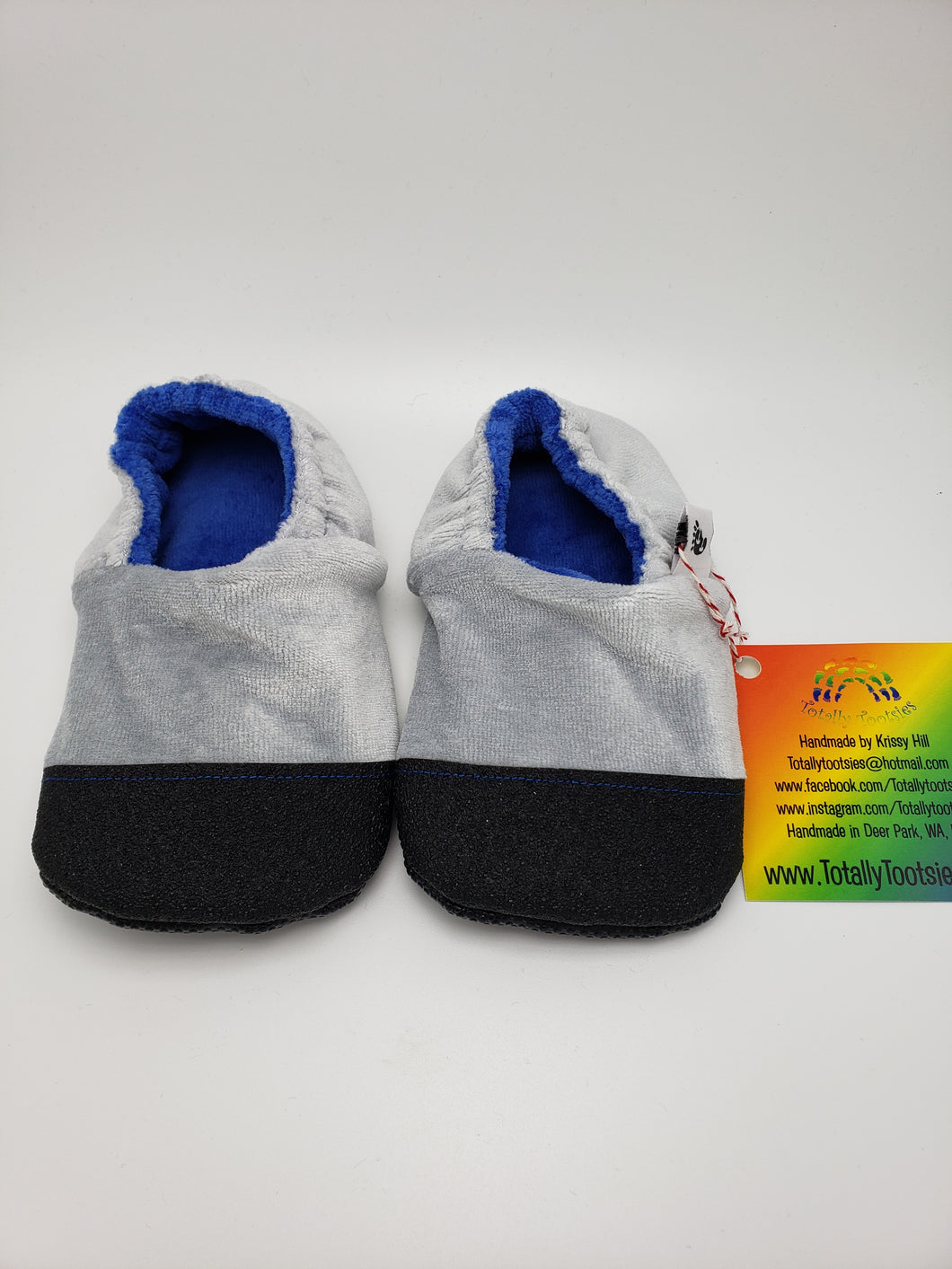 Ready to Ship Grey OBV Booties with Blue inner!!! Many sizes available!