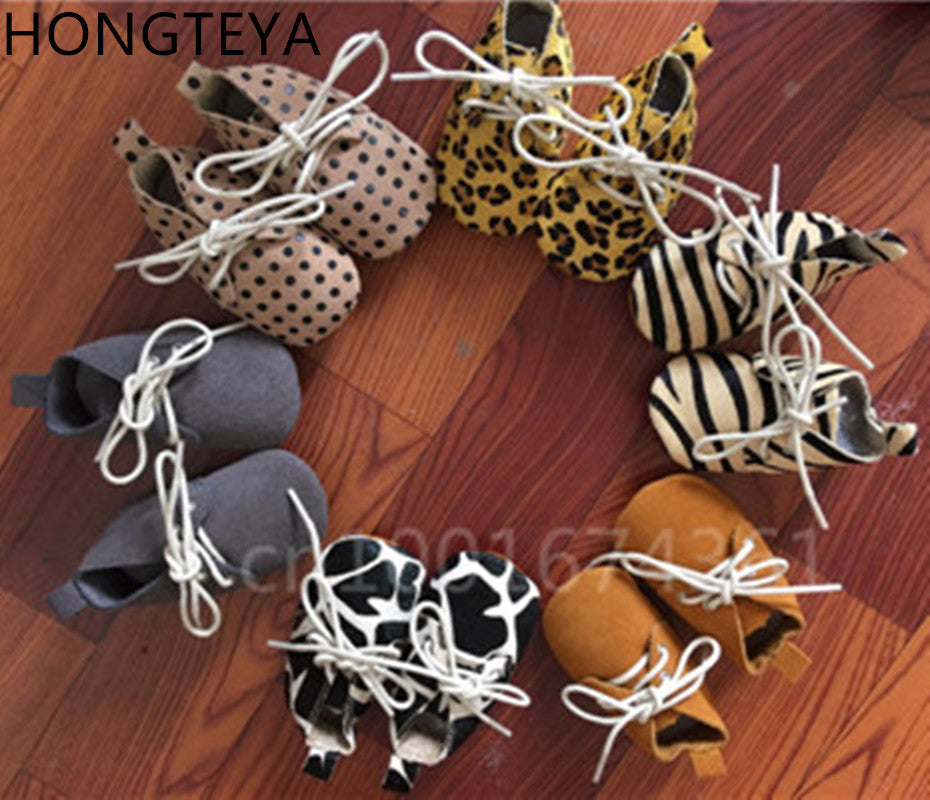 Genuine leather baby lace up horse hair polka shoes - Chilly Baby