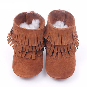 Genuine leather Double fringe suede baby Shoes - Chilly Baby