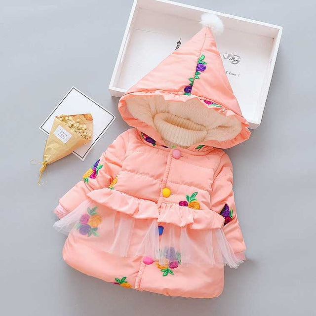 Floral Print Winter Jacket For Girl - Chilly Baby