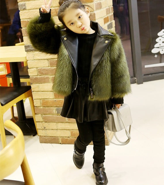 Girls Vegan Leather Fox Fur - Chilly Baby