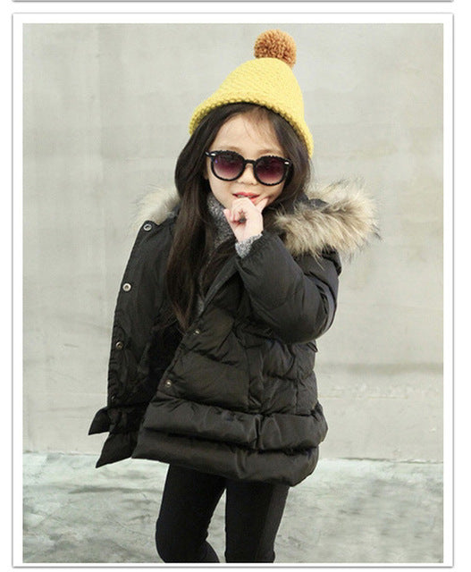 Warm Fur Hooded Jacket For Girls - Chilly Baby