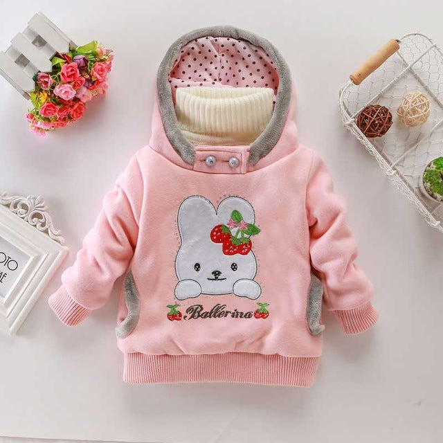 Girls Hoodies Rabbit Fleece Outerwear Coat - Chilly Baby