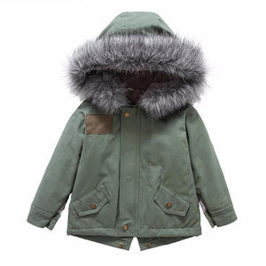 Warm Fur Hooded Cotton Jacket For Boys - Chilly Baby
