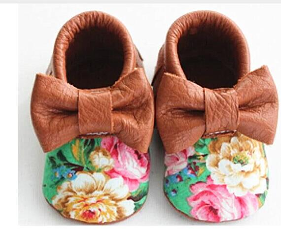 Handmade flower Genuine Leather Toddler Baby bow Shoes - Chilly Baby
