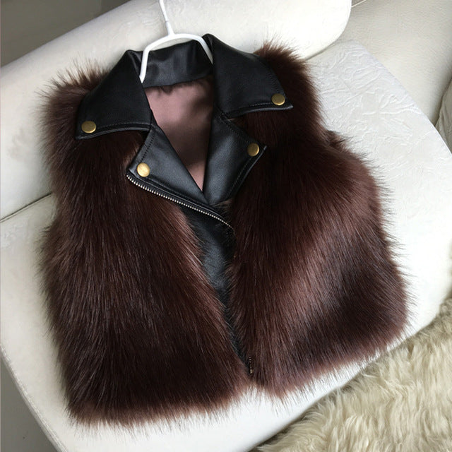 Girl Fur Vest Coats - Chilly Baby