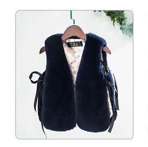 Luxury Faux Fox Fur Lace up Side Waistcoat - Chilly Baby