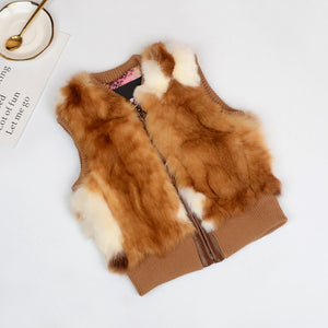 Girls Real Rabbit Fur Vest Jackets - Chilly Baby