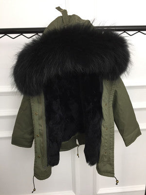 Girls Rex Rabbit Fur Liner Coats - Chilly Baby
