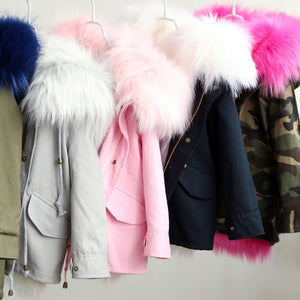 Thicken warm fox fur liner detachable jackets for Girls - Chilly Baby