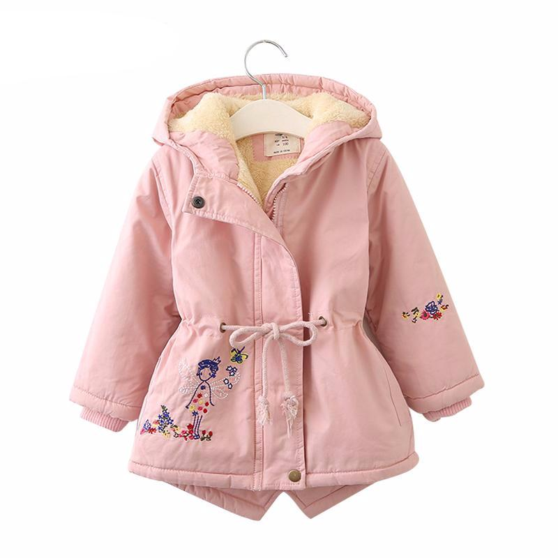 Embroidered fur hooded coat for girls - Chilly Baby